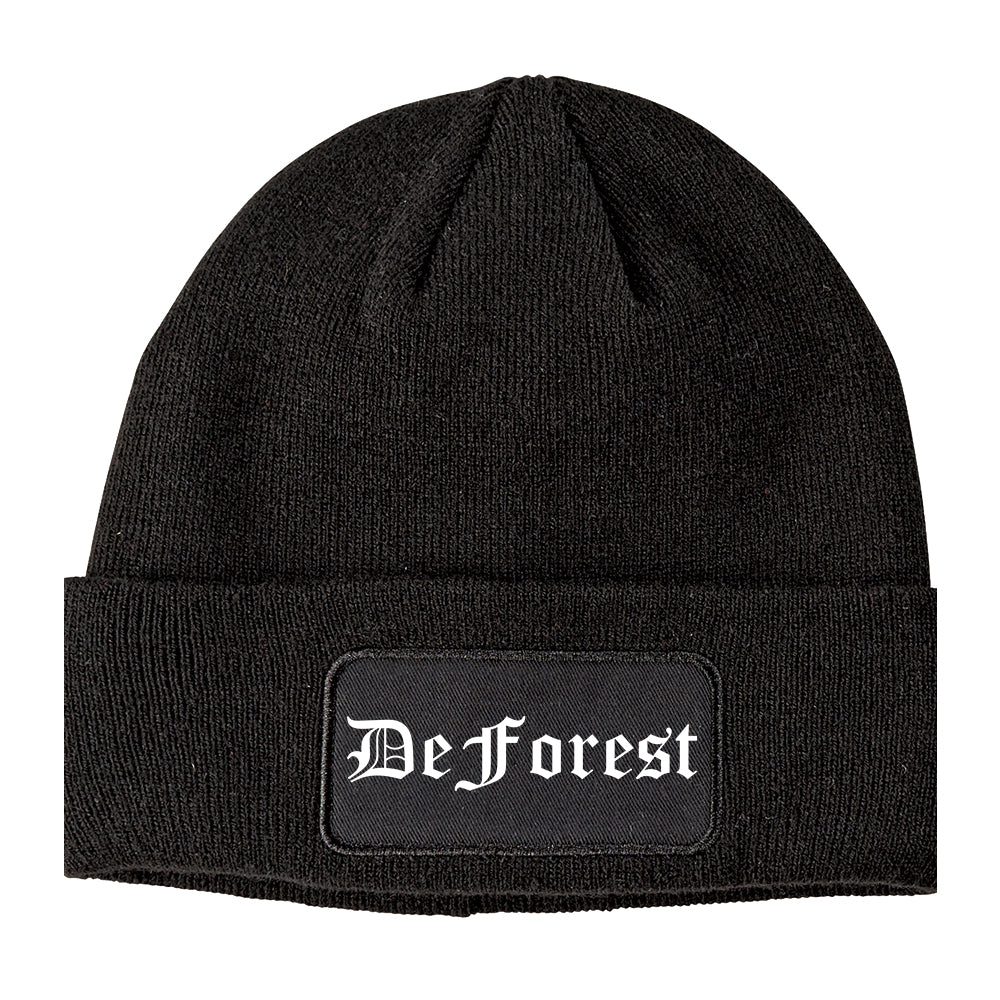 DeForest Wisconsin WI Old English Mens Knit Beanie Hat Cap Black