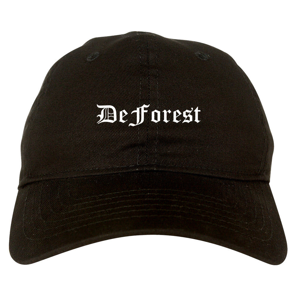 DeForest Wisconsin WI Old English Mens Dad Hat Baseball Cap Black