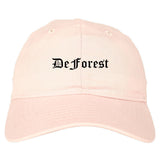 DeForest Wisconsin WI Old English Mens Dad Hat Baseball Cap Pink