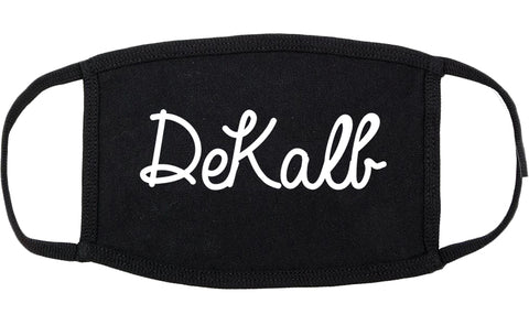 DeKalb Illinois IL Script Cotton Face Mask Black