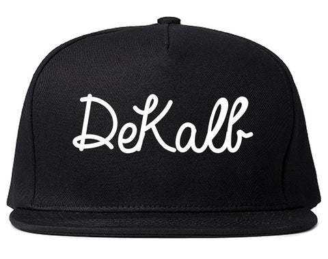 DeKalb Illinois IL Script Mens Snapback Hat Black