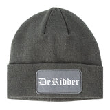 DeRidder Louisiana LA Old English Mens Knit Beanie Hat Cap Grey