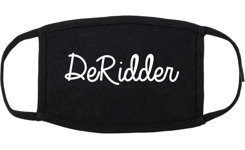 DeRidder Louisiana LA Script Cotton Face Mask Black