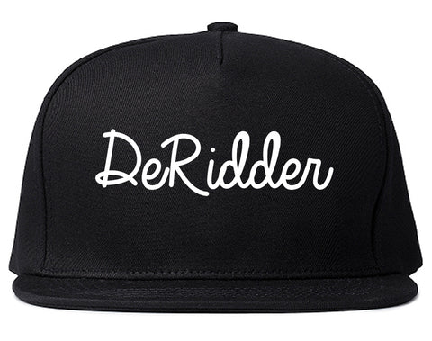 DeRidder Louisiana LA Script Mens Snapback Hat Black
