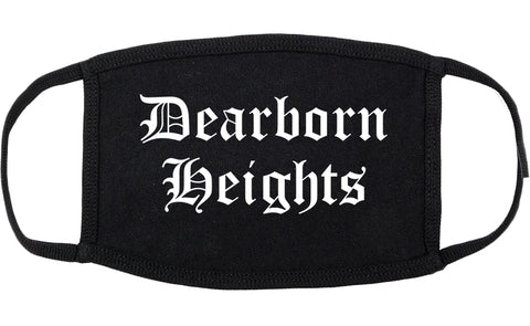 Dearborn Heights Michigan MI Old English Cotton Face Mask Black