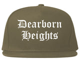 Dearborn Heights Michigan MI Old English Mens Snapback Hat Grey
