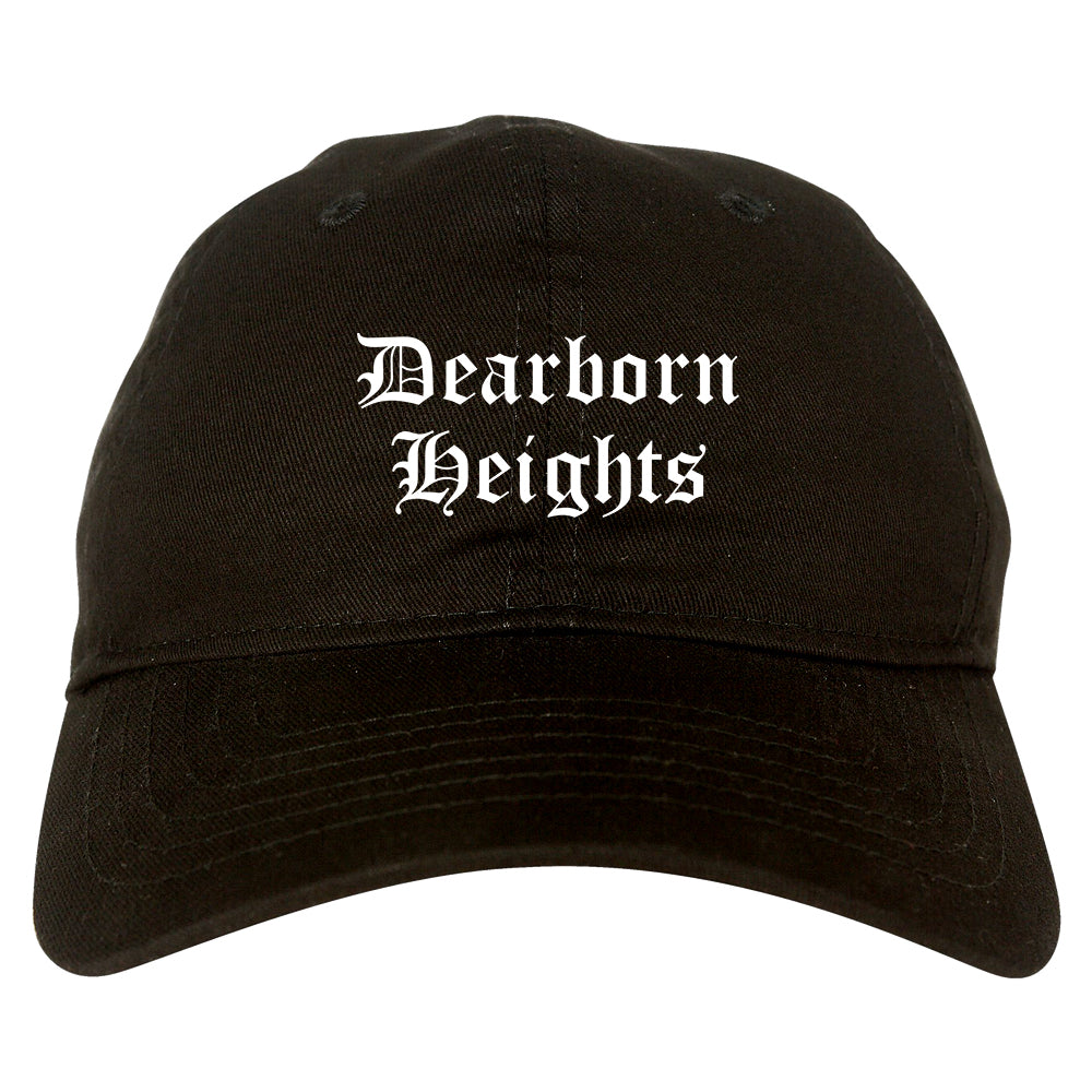 Dearborn Heights Michigan MI Old English Mens Dad Hat Baseball Cap Black