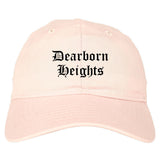 Dearborn Heights Michigan MI Old English Mens Dad Hat Baseball Cap Pink