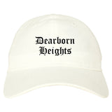 Dearborn Heights Michigan MI Old English Mens Dad Hat Baseball Cap White