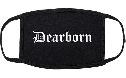 Dearborn Michigan MI Old English Cotton Face Mask Black