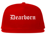 Dearborn Michigan MI Old English Mens Snapback Hat Red