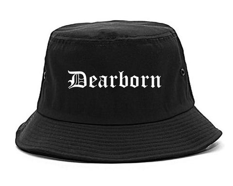 Dearborn Michigan MI Old English Mens Bucket Hat Black