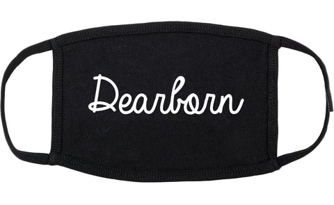 Dearborn Michigan MI Script Cotton Face Mask Black