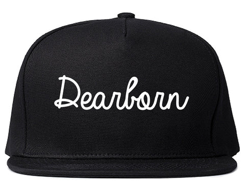 Dearborn Michigan MI Script Mens Snapback Hat Black
