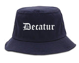 Decatur Indiana IN Old English Mens Bucket Hat Navy Blue