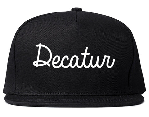 Decatur Indiana IN Script Mens Snapback Hat Black