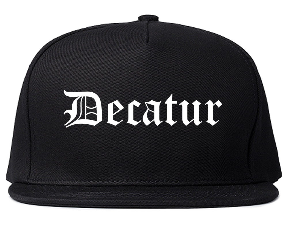 Decatur Texas TX Old English Mens Snapback Hat Black