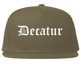 Decatur Texas TX Old English Mens Snapback Hat Grey