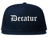 Decatur Texas TX Old English Mens Snapback Hat Navy Blue