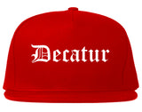 Decatur Texas TX Old English Mens Snapback Hat Red