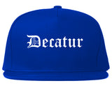 Decatur Texas TX Old English Mens Snapback Hat Royal Blue