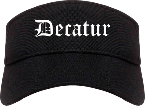 Decatur Texas TX Old English Mens Visor Cap Hat Black