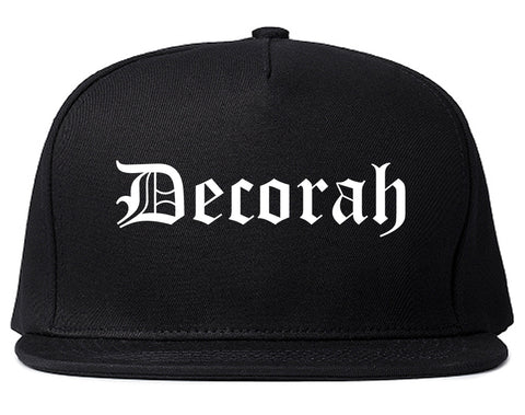 Decorah Iowa IA Old English Mens Snapback Hat Black