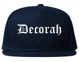 Decorah Iowa IA Old English Mens Snapback Hat Navy Blue