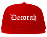 Decorah Iowa IA Old English Mens Snapback Hat Red