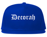 Decorah Iowa IA Old English Mens Snapback Hat Royal Blue