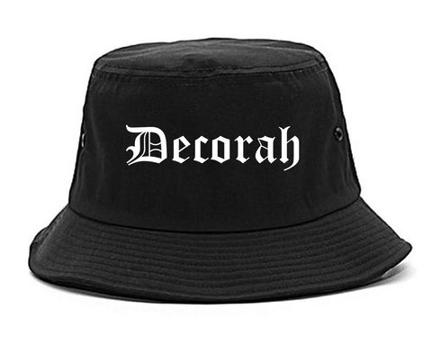 Decorah Iowa IA Old English Mens Bucket Hat Black
