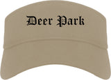 Deer Park Ohio OH Old English Mens Visor Cap Hat Khaki