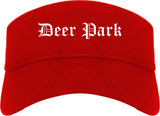 Deer Park Ohio OH Old English Mens Visor Cap Hat Red