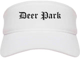 Deer Park Ohio OH Old English Mens Visor Cap Hat White
