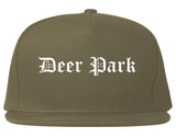 Deer Park Texas TX Old English Mens Snapback Hat Grey