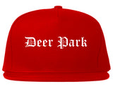 Deer Park Texas TX Old English Mens Snapback Hat Red