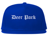 Deer Park Texas TX Old English Mens Snapback Hat Royal Blue