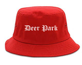 Deer Park Texas TX Old English Mens Bucket Hat Red