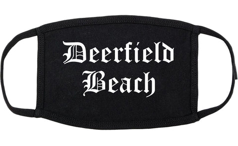 Deerfield Beach Florida FL Old English Cotton Face Mask Black