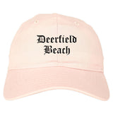 Deerfield Beach Florida FL Old English Mens Dad Hat Baseball Cap Pink