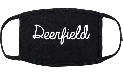Deerfield Illinois IL Script Cotton Face Mask Black