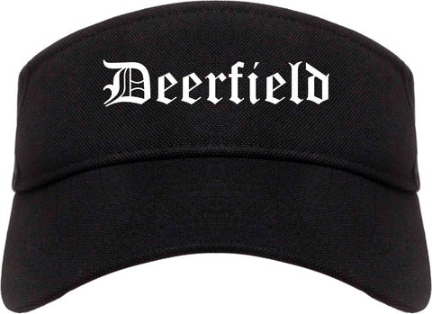 Deerfield Illinois IL Old English Mens Visor Cap Hat Black