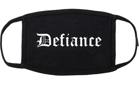 Defiance Ohio OH Old English Cotton Face Mask Black