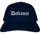 Defiance Ohio OH Old English Mens Trucker Hat Cap Navy Blue