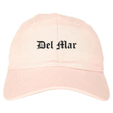 Del Mar California CA Old English Mens Dad Hat Baseball Cap Pink