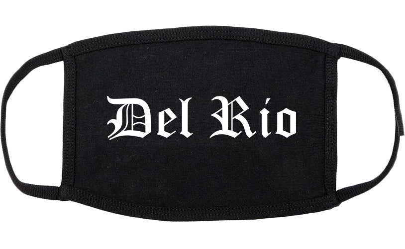 Del Rio Texas TX Old English Cotton Face Mask Black
