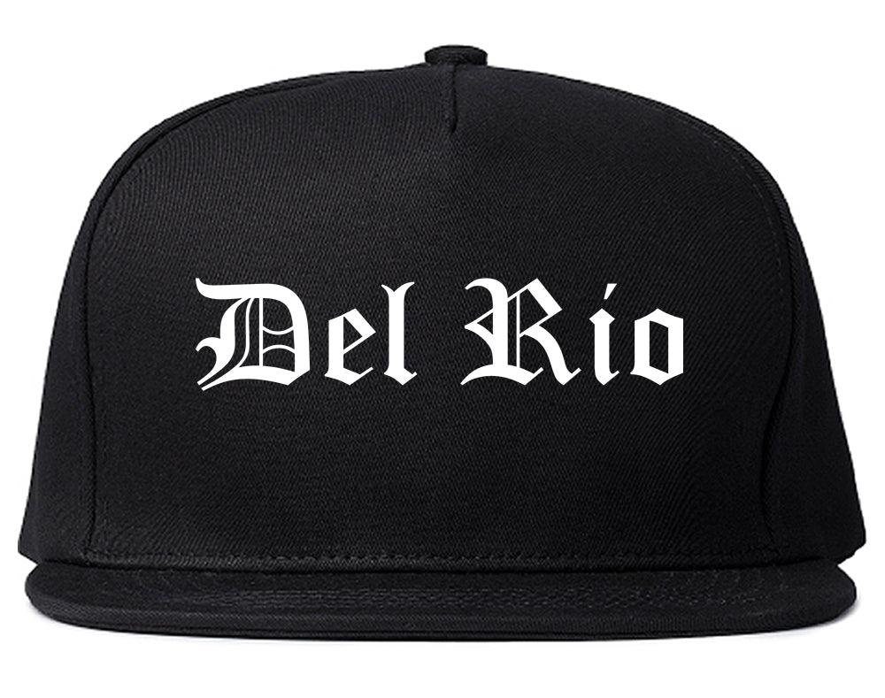 Del Rio Texas TX Old English Mens Snapback Hat Black