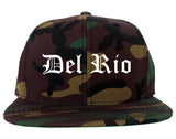 Del Rio Texas TX Old English Mens Snapback Hat Army Camo