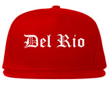 Del Rio Texas TX Old English Mens Snapback Hat Red