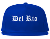 Del Rio Texas TX Old English Mens Snapback Hat Royal Blue